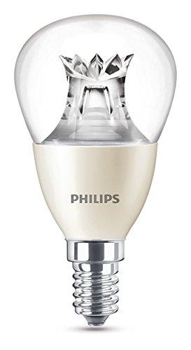 Philips Bombilla Gota Vela LED de luz cálida, 6W/40W, Casquillo E14, Regulable,...