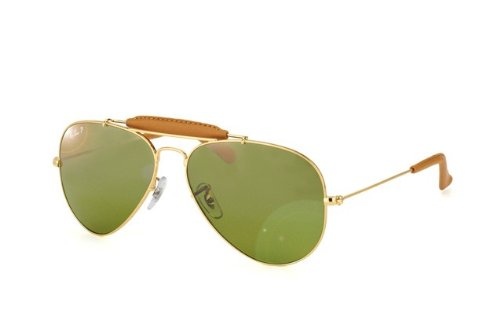 Ray Ban Lunettes de soleil RB3422Q Craft Outdoorsman Leather Gold / Red leather / Pink, silver gradient mirror, 55mm, 001/51: Gold / Brown leather, 58 mm