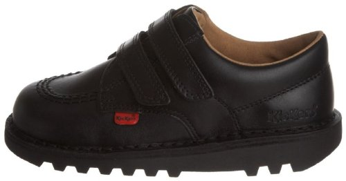 Kickers Kick Lo Velcro I Core (Infants) - Black Leather Kids Shoes