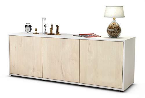 Stil.Zeit Möbel TV Schrank Lowboard Allegra, Korpus in Weiss matt/Front im Holz Design Zeder (135x49x35cm), mit Push to Open Technik, Made in Germany