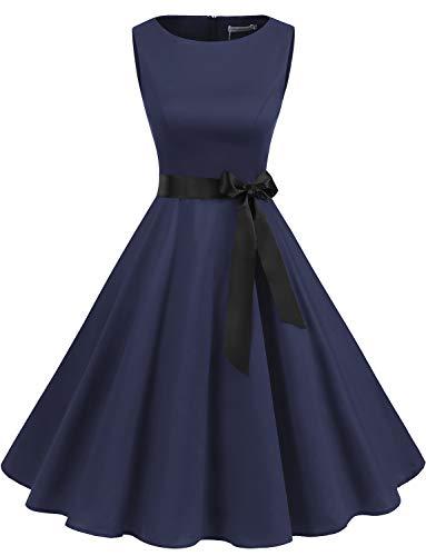 Gardenwed Damen 1950er Vintage Cocktailkleid Rockabilly Retro Schwingen Kleid Faltenrock Navy M -