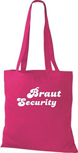Shirtstown Stoffbeutel JGA Braut Security viele Farben fuchsia