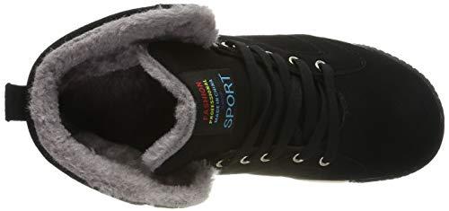 SITAILE Herren Sportschuhe Schnüren Winter Sneakers Freizeitschuhe Warm Gefütterte Winterschuhe,schwarz,47 - 7
