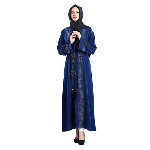QinMM M-Muslim Damen Strickjacke Robe Handmade Perlen Rock - Elegante Sommermode Langarm Abbay Dubai Abendkleid Langes Kleid Hochzeit Kaftan Islamisches Kostüm -