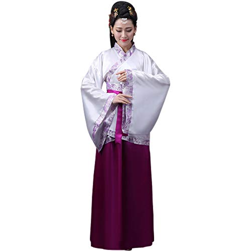 Preisvergleich Produktbild ZEVONDA Damen Chinesische Kleidung Tang Anzug Altertümlich Chinesischen Stil Hanfu Prinzessin Chaise Dress Aufführungen Kostüm,  Violett / 2XL