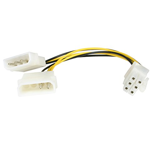 Startech.com LP4PCIEXADAP - Cable adaptador de alimentación de LP4 a PCI Express de 6 pines para tarjeta gráfica
