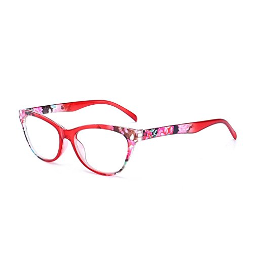 Wiffe Frauen Cat Eye Lesebrille Vintage Reader Mode Blumendruck + 1,0 + 4,0 (Rot, 4.00)