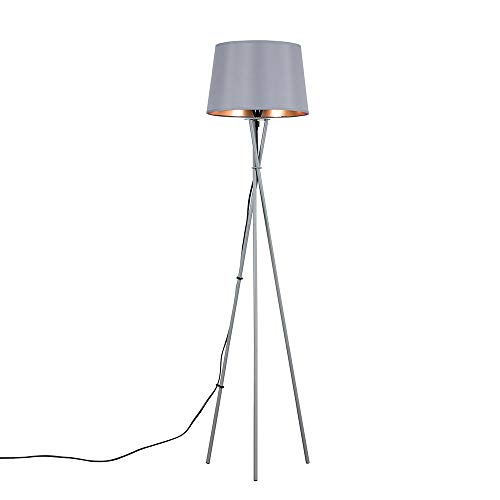 Grey Shade Warm Tapered Metal A Led Copper Lamp With Modern Floor Light Gls White Tripod 10w Bulb3000k Complete And N0PX8Oknw