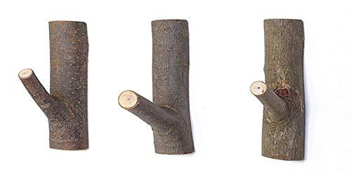 Garderobenhaken aus Natürliche Holz Haken Kleiderhaken wand Vintage Handtuchhaken Geeignet für wohnzimmer Ohne Bohren 3 Stück (Mittel) -