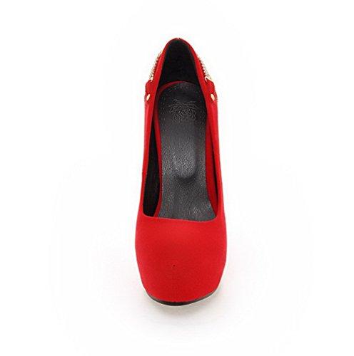 AllhqFashion Femme Rond Tire Suédé Couleur Unie à Talon Haut Chaussures Légeres Rouge