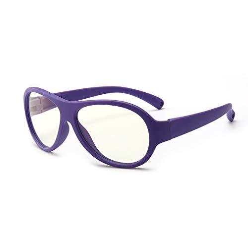 Hibote Mädchen Jungen Anti Blaulicht Brillen - Silikon - Klare Linse Gläser Rahmen Geek/Nerd Brillen mit Auto Form Brillenetui - 18083009