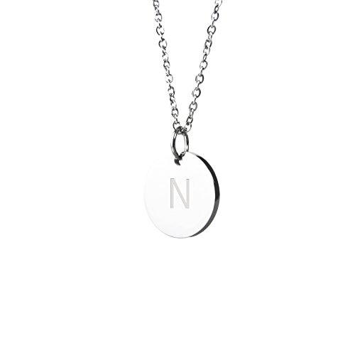 Good.Designs Halskette mit Buchstaben in Silber, Initialen-Halskette aus Edelstahl (Buchstabe N)