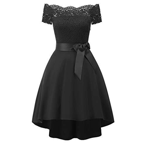 Knowin Frauen EIN Schulter Spitze Cocktail Abendkleid Kurzbogen Brautjungfer Kleid Formale Mini Lace Chiffon Dresses Prom Abend Party Kurzer Rock Elegant Kleider Old Navy Stretch Kleid