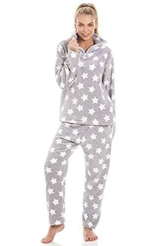 Camille Superweiches Pyjama-Set - Velours-Fleece - Grau mit weißem Sternmuster 42/44