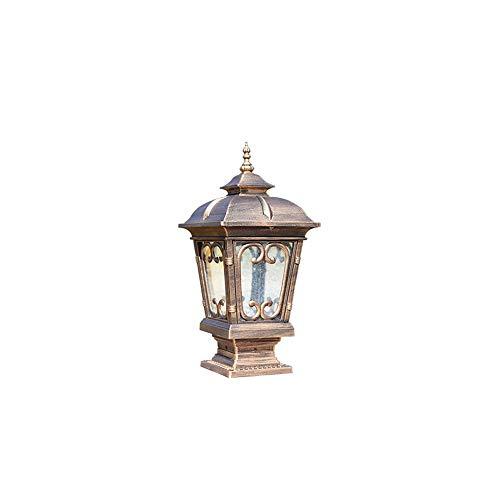 Europäische Tor-Außenpfosten-Laterne-klassische nostalgische Säulen-Scheinwerfer-Hof-Patio-Zaun-Plattform-Villa-Säulenlampe Aluminium mit Glasschirm E27 -