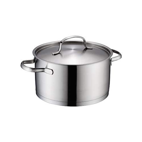 Olla JXLBB 4L de Gran Capacidad 304 Sopa de Acero Inoxidable Engrosamiento Compuesto Inferior Cocina de inducción Universal 22 CM pequeña Sopa