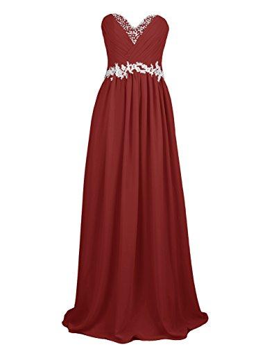 Dresstells, Robe de soirée de mariage/cérémonie/demoiselle d'honneur forme Princesse bustier en coeur pailletée Bordeaux