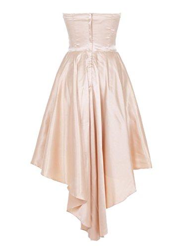 Find Dress Femme Robe de Soirée/Cocktail/Cérémonie Asymétrique Robe Bustier Courte à la mode en Satin Elastique avec Noeud de Papillon Noir