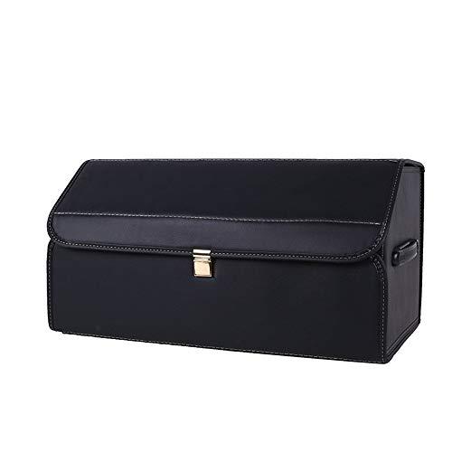 Preisvergleich Produktbild Wuxingqing Car Boot Organizer Luxuxauto ZUSAMMENKLAPPBARE Faltbare Speicher Box,  PU-Leder-wasserdichte Auto-Stiefel-Organisator Mutil Farben (Color : Black)