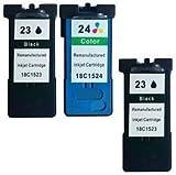 3 Druckerpatronen für Lexmark X3430, X3500, X3530, X3550, X4500, X4530, X4550, Z1400, Z1410, Z1420, Z1450 | kompatibel zu Lexmark 23 & 24
