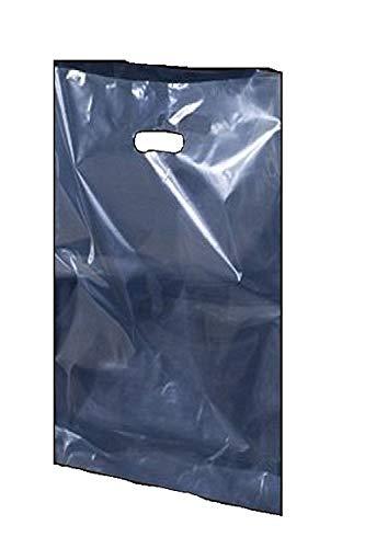 Kleine mittelgroße große transparente Kunststofftüten für Einkaufen, Geschenke, Partys, Kostüm, Shop, Tragetasche, 15'' x 18'' + 3'', farblos, 25