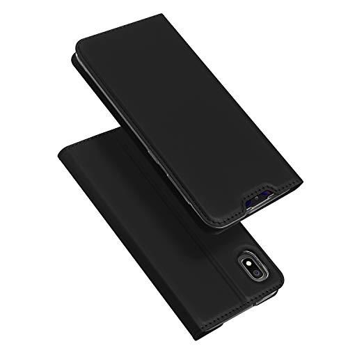 DUX DUCIS Hülle für Samsung Galaxy A10, Leder Flip Handyhülle Schutzhülle Tasche Case mit [Kartenfach] [Standfunktion] [Magnetverschluss] für Samsung Galaxy A10 (Schwarz)