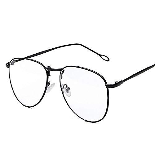 BAACHANG Damen Retro rundes Gesicht Metall runder Rahmen Flachglasrahmen (Farbe : Schwarz)