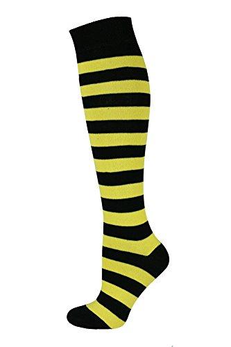 ohe lange Socken Streifen Gelb Schwarz ()