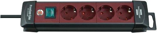 Brennenstuhl Premium-Line, Steckdosenleiste 4-fach (Steckerleiste mit Schalter und 1,8m Kabel-45° Winkel der Schutzkontakt-Steckdosen) Farbe: bordeaux