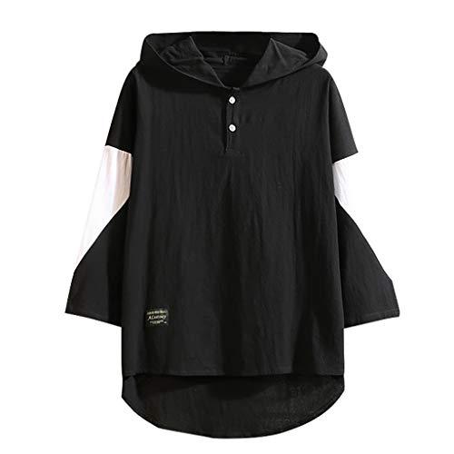 REALIKE Herren T-Shirt Kurzarmshirt Mit Hoodie Mode T-Shirt mit Rundhalsausschnitt Unterhemden Einfarbig Muskelshirt Fitness Oberteile Weiß und Schwarz Basic für Männer bis Größe M-5XL -