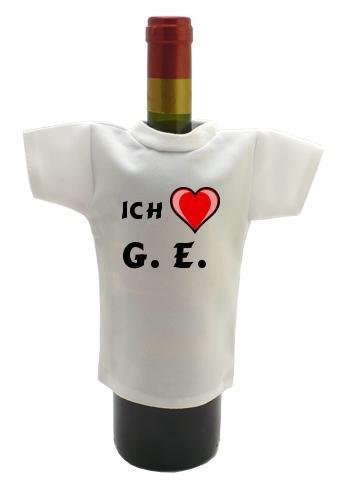 Weinflasche T-shirt mit Aufschrift Ich liebe G. E. (Monogramm)