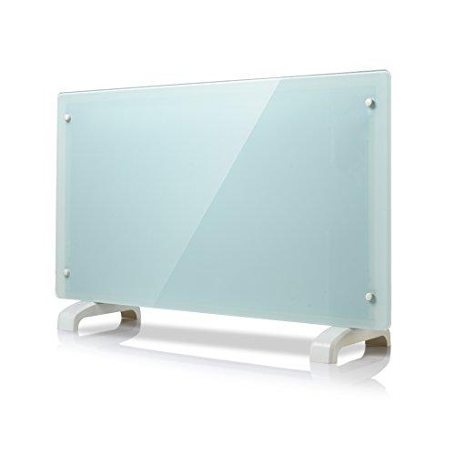Homeleader 2000W Glaskonvektor Elektroheizung elektrischer IP24 wasserdichter Flachheizkörper wärmewellenheizung, Stand- oder Wandgerät, Weiß