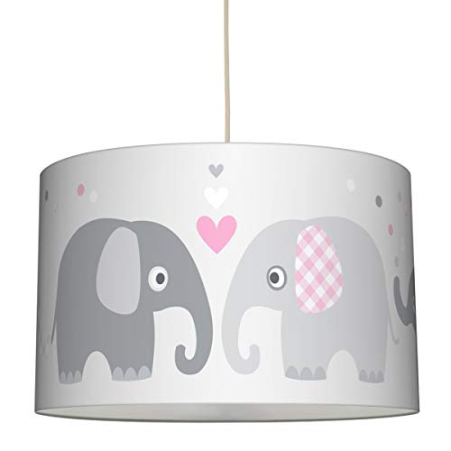 lovely label Hängelampe ELEFANTEN ROSA/GRAU - Lampenschirm für Kinder/Baby, Schirm mit Elefanten - Komplette Hängeleuchte für Kinderzimmer Mädchen & Junge