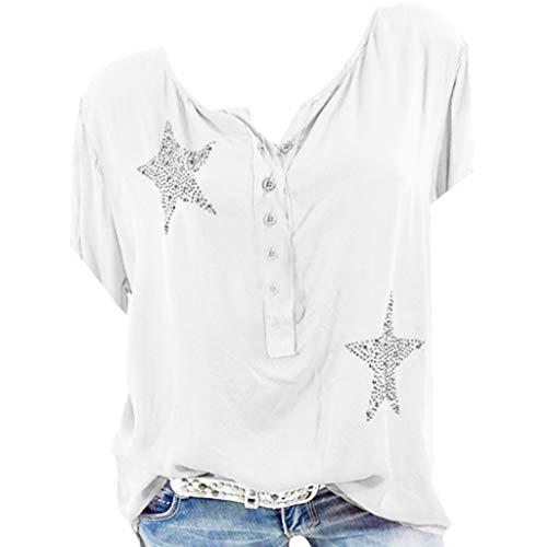 -Ausschnitt Casual Large Size Tops Shirts, Mode Button Up Kurzarm Pentagram Print Bluse Tunika ()