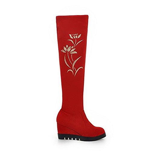 VogueZone009 Donna Pelle Di Mucca Alta Altezza Puro Tirare Tacco Alto Stivali Rosso