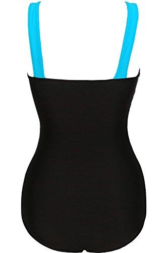 Labelar Damen Schwimmenanzug Einteilig One Piece Einteiler Badeanzug Elegant Sexy Figurformend Swimsuit Hellblau