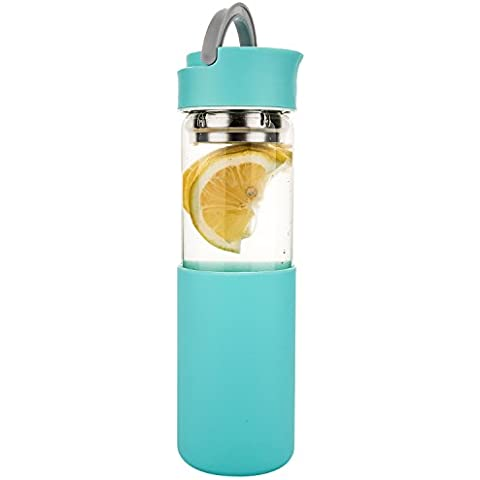 Life4u Cristal de Borosilicato Botella de Agua con Funda de Silicona y Colador, 510 ml, Azul