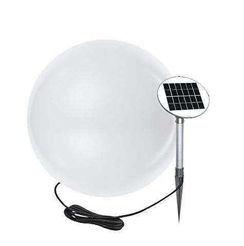 8 seasons design | LED Solarkugel Gartenleuchte Shining Globe (Ø 50 cm groß, warmweiß, Solarpanel, Dämmerungssensor, UV-beständig, Solarleuchte für Garten, außen)
