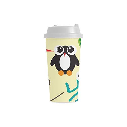 Tiere Big Eye Nette Benutzerdefinierte 16 Unzen Doppelwandige Kunststoff Isoliert Sport Wasserflasche Tassen Pendler Reise Kaffeetassen Für Studenten Frauen Milch Teetasse Trinken