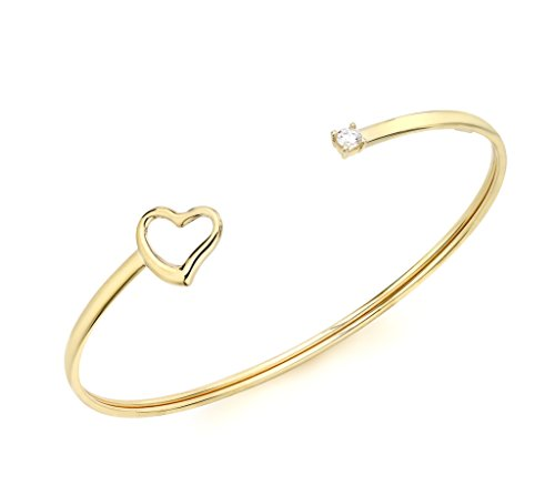 Carissima Gold 9ct Yellow Gold Flexible Heart and Cubic Zirconia Bangle