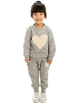 RETUROM Ropa de los niños del corazón de la manga larga de impresión chandal + Harem equipos fijó