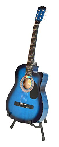 Imagen de ts ideen western   acústica, tamaño regular 4/4 con set de accesorios bolso, cuerdas, afinador, soporte etc. , color azúl sunburst alternativa