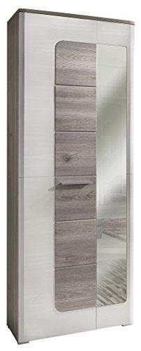 Trendteam Weiß Woodlook Struktur Garderobenschrank, weiß, 70 x 196 x 38 cm