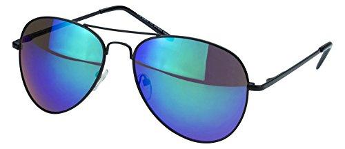Sense42 | Pilotenbrille | Fliegerbrille für Damen und Herren | verspiegelte Sonnenbrille | mit Federscharnier-Bügel | schwarz, blau, gold, grün, orange, silber