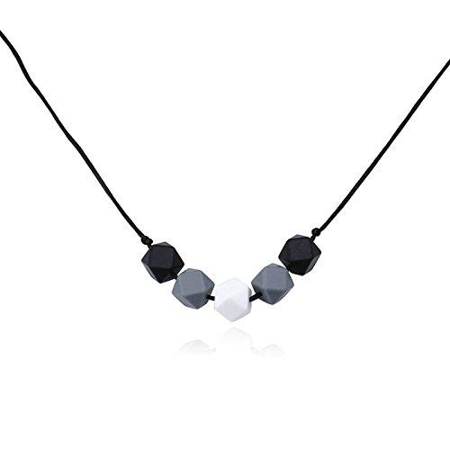 Epinki Schnuller Baby Kette Lebensmittelechtes Silikon Zahnen Anhänger Halskette Geometrie Schwarz Chewelry Mama Kette 80cm
