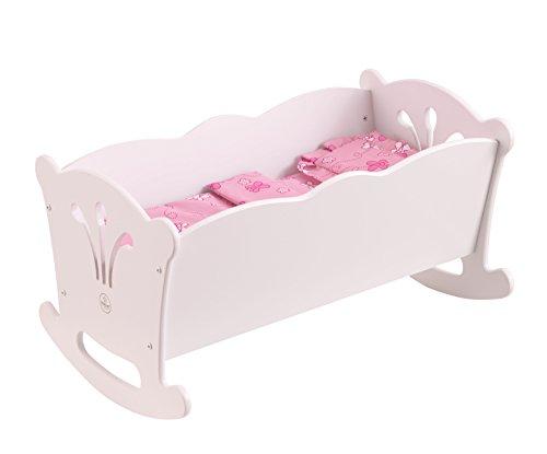 KidKraft 60101 Lil' Doll Cradle Berceau de poupée en bois blanc avec parure de lit rose Accessoire pour poupées de 45cm