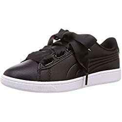 Puma Vikky v2 Ribbon Core, Baskets Basses Femme, Noir Black Silver White, 38 EU