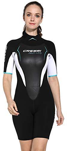 Cressi Damen Altum Lady Wetsuit Shorty Neoprenanzug Premium Neopren 3mm, Schwarz/weiß/Aquamarine, X-Small