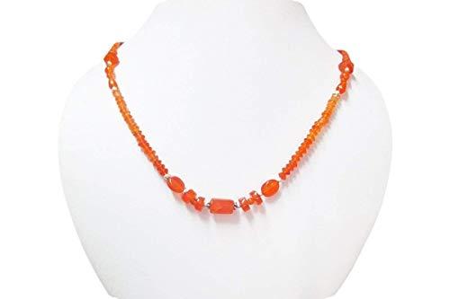 Natürliche Orange Karneol Perlen Halskette mit 925 Sterling Silber 16