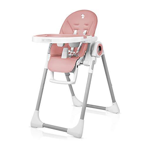 Mitwachsender Hochstuhl Baby, Verstellbar und Klappbar - 7 Höhen, Verstellbare Rückenlehne Kind 5 Positionen, Abnehmbares Tablett, Aufsteckbarer Teller (einfache Reinigung), Komfort Polster Baby -
